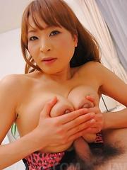 Hikaru Wakabayashi Asian rubs dick of big cans and gets vibrator