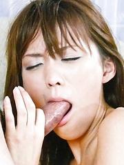 Nagisa Aiba Asian has vibrators stuck in licked pussy and asshole