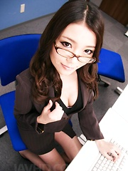 Ibuki Asian in office suit is fucked from behind in asshole
