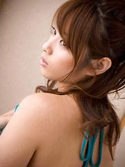 Ayaka Noda Asian shows sexy legs and ass under long blue dress