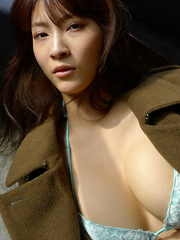 Asana Kawai Asian puts army coat on her big bra in knitted bra