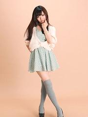 Mayuka Kuroda Asian in long socks and cute dress has big boobs