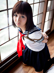 Shiryl Asian in school uniform is punished and tied in ropes