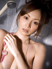 Anri Sugihara Asian spoils her big assets with shower over bra