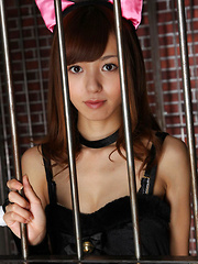 Aino Kishi Asian takes dress off and shows nudeness behind bars