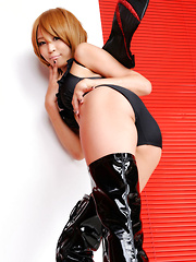 Sayuri Ono Asian is dangerous batwoman in high heels long boots