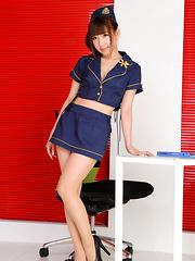Chihiro Akiha Asian is sexy captain girl in heels and hot uniform