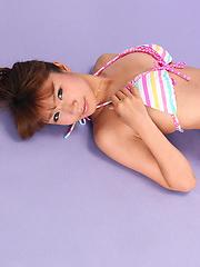 Hazuki Minami Asian in very colorful bath suit is so leering