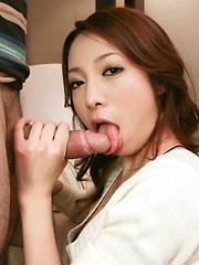 Naughty and glam Kanako Tsuchiyo sucks cock and eats a load