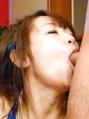 Maika Asian sucks shlongs and spreads legs to get them in beaver