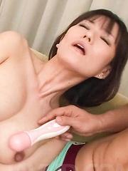 Manami Komukai Asian has hairy cunt and boobs under vibrator