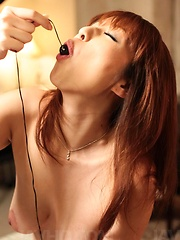 Araki Hitomi Asian gets cum on her boobs while using vibrator
