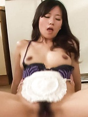 Manami Komukai Asian gets hard penis in mouth and doggy style