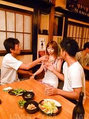 Minami Kitagawa Asian in small lingerie gets vibrators on peach