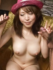 Sayaka Tsuzi Asian has cum on firm boobs after stroking woodies