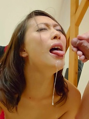 Yayoi Yanagida Asian gets cum in mouth and vibrators on curves
