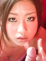 Satomi Suzuki Asian spoils penis with her mouth and fine assets
