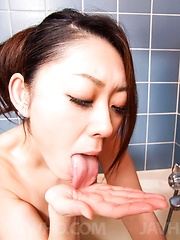 Ruri Hayami Asian teases her body at shower and gives blowjob