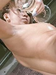 Juri Sawaki Asian rubs her fine and oiled hooters with vibrator