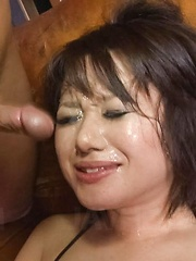 Haruka Uchiyama Asian has vagina licked and sperm on her face