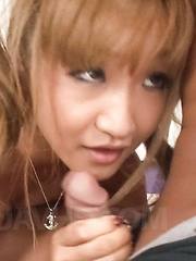 Kurea Mutou Asian busty gets strong drilling while is held in air
