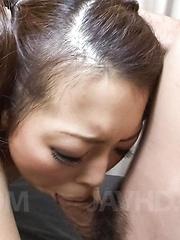 Yuki Asami Asian sucks dicks and gets them between spread labia