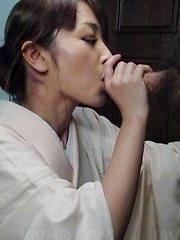 Marika Asian nymphet sucks and strokes penis till gets cum to eat