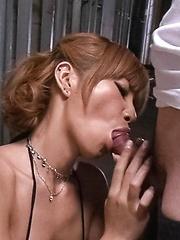 Sumire Matsu Asian rubs her wet beaver while sucking dick a lot