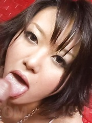 Haruka Uchiyama Asian licks hard cock and rubs it of hot cleavage