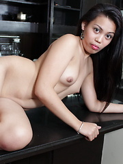 Hot Shala with her tiny pussy is chatting and parading naked in her kitchen