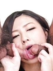 Megumi Haruka Asian in fishnet outfit gets cum in mouth from dick
