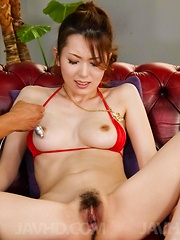 Yui Hatano in red lingerie gets vibrator in slit and cum on face