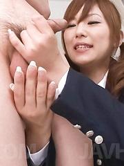 Miku Airi Asian sucks and strokes cock till gets sperm in palms