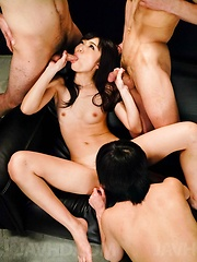 Megumi Shino Asian sucks shlong till cum pours from her mouth