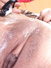 Rin Yuzuki Asian has her willing cum dumpster shaved by fellow