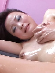 Yuu Haruka Asian has boobs fondled with oil and touched with cock