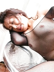 Ruhime Maiori Asian is fingered in coochie through crotchless