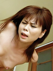 Yukari Asian has clit rubbed and gets cum after doggy frigging