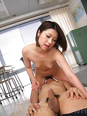 Kaoru Natsuki Asian loves sucking balls and stroking phallus