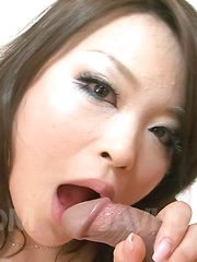 Yuu Haruka Asian in red bra plays with tongue on dong getting cum
