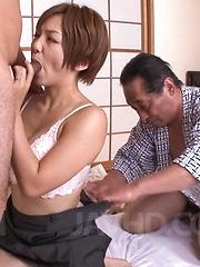 Meguru Kosaka Asian has fine boobs fondled while she sucks penis