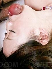 Rina Yuuki Asian has vagina spread and fucked by cock she licks