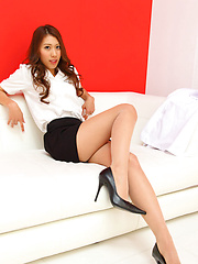 Elegant Reika Miki inspires us in sexy shirt and hot high heels