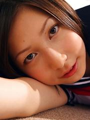 Kaori Ishii Asian is naughty and shows legs under uniform skirt