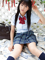 Miho Morita Asian takes school uniform off and shows body outdoor