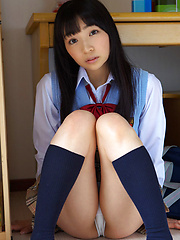 Kotone Moriyama Asian shows behind under uniform short skirt