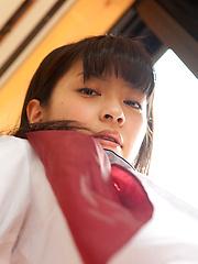 Yuuri Shiina Asian shows nasty behind in panty under uniform