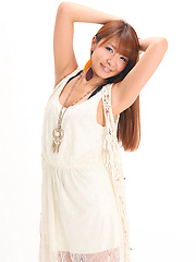 Minami Hazuki Asian in white dress and with sexy smile is amazing
