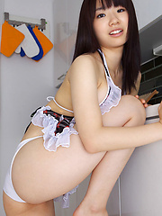 Hikari Azuma Asian with big hooters is in playing mood in kitchen