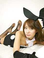 Yuki Aikawa Asian with fishnet stockings and ears is hot bunny